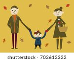 autumn image with family | Shutterstock .eps vector #702612322
