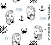 seamless pattern in the marine... | Shutterstock .eps vector #702636262