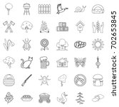 settlement icons set. outline... | Shutterstock .eps vector #702653845