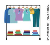 colorful silhouette of clothes... | Shutterstock .eps vector #702675802