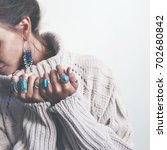 boho jewelry on model  ethnic... | Shutterstock . vector #702680842