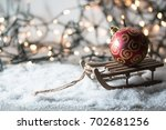 beautiful christmas composition ... | Shutterstock . vector #702681256