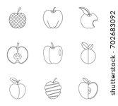 monkey icon set. outline set of ... | Shutterstock .eps vector #702683092
