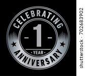 1 year anniversary logo. vector ... | Shutterstock .eps vector #702683902