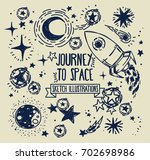 set of sketch stars  rocket ... | Shutterstock .eps vector #702698986