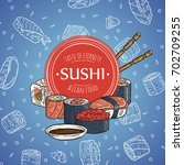 doodle sushi restaurant and... | Shutterstock .eps vector #702709255
