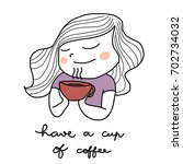 cute woman holding a coffee cup ...   Shutterstock .eps vector #702734032