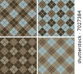 """Four seamless 6"""" repeating vector argyle patterns in soft browns and light blue. - stock vector"""