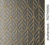 3d render gold lattice modern | Shutterstock . vector #702745042