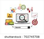flat illustration web analytics ... | Shutterstock .eps vector #702745708