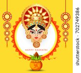 illustration of happy navratri... | Shutterstock .eps vector #702749386