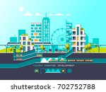 flat illustration with city... | Shutterstock .eps vector #702752788
