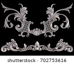 chrome ornament on a black...   Shutterstock . vector #702753616