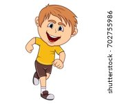 a boy running cartoon vector...   Shutterstock .eps vector #702755986