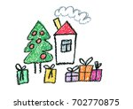 christmas house new year... | Shutterstock . vector #702770875