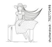 girl on a suitcase with her... | Shutterstock .eps vector #702772498