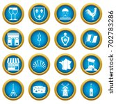 france travel icons blue circle ... | Shutterstock .eps vector #702783286