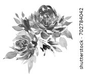 Stock photo bouquet of two black and white roses watercolor painting wedding and birthday drawing greeting 702784042