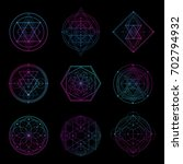 sacred geometry sign with neon... | Shutterstock .eps vector #702794932