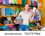 young girl with disposable... | Shutterstock . vector #702797986