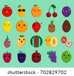 cartoon face funny fruit emoji... | Shutterstock .eps vector #702829702