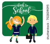 back to school  two students ... | Shutterstock .eps vector #702839095