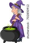 cartoon little witch preparing...   Shutterstock .eps vector #702850912