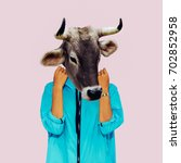 hipster cow minimal collage art....   Shutterstock . vector #702852958