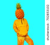 man pineapple. minimal art... | Shutterstock . vector #702853102