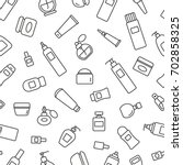 seamless pattern with cosmetic... | Shutterstock .eps vector #702858325