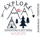 explore adventure hand drawing... | Shutterstock .eps vector #702859318