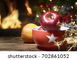 beautiful decorated fireplace... | Shutterstock . vector #702861052