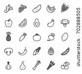 fruit and vegetables icon set.... | Shutterstock .eps vector #702888505