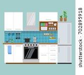 modern cozy kitchen interior ...   Shutterstock .eps vector #702895918