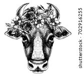 cow portrait with floral wreath....   Shutterstock .eps vector #702916255