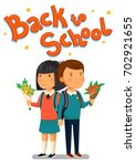 vector schoolboy and schoolgirl ... | Shutterstock .eps vector #702921655