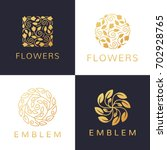floral logo set. flower icon.... | Shutterstock .eps vector #702928765