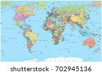colored world map   borders ... | Shutterstock .eps vector #702945136