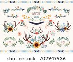 save the date floral collection....   Shutterstock .eps vector #702949936