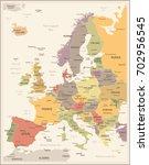 europe map   vintage detailed...   Shutterstock .eps vector #702956545