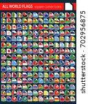 square corner flags on dark... | Shutterstock .eps vector #702956875