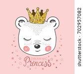 cute little bear girl with... | Shutterstock .eps vector #702957082