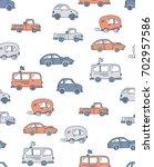 cartoon cute car pattern | Shutterstock .eps vector #702957586