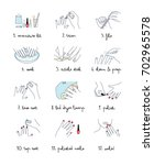 woman manicure procedure set.... | Shutterstock .eps vector #702965578