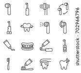 toothbrush icon set. teeth...
