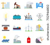 industry icon set. collection... | Shutterstock .eps vector #702966802