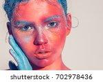 body art woman face portrait ... | Shutterstock . vector #702978436