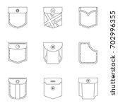pants pocket icon set. outline...   Shutterstock .eps vector #702996355