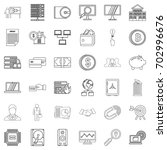 contract icons set. outline... | Shutterstock .eps vector #702996676