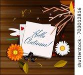 autumn greeting card ... | Shutterstock .eps vector #703012816